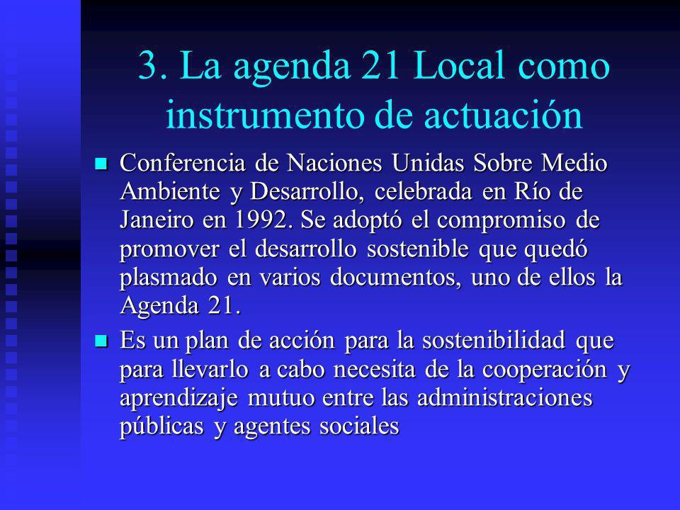 3. La agenda 21 Local como instrumento de actuación Conferencia de Naciones Unidas Sobre Medio Ambiente y Desarrollo, celebrada en Río de Janeiro en 1