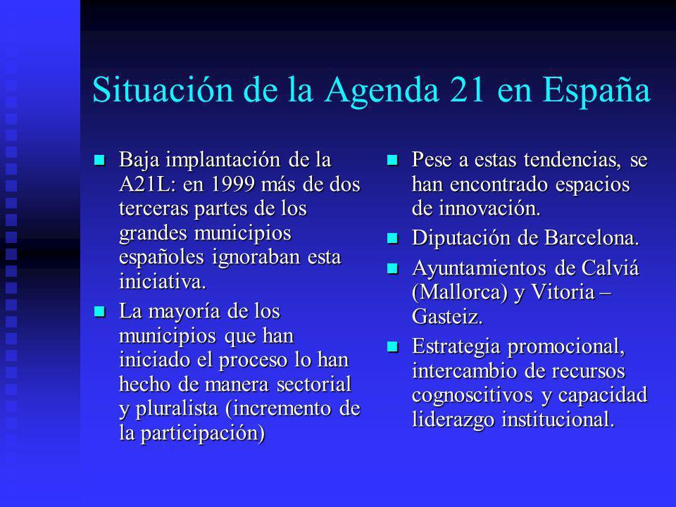 Situación de la Agenda 21 en España Baja implantación de la A21L: en 1999 más de dos terceras partes de los grandes municipios españoles ignoraban est