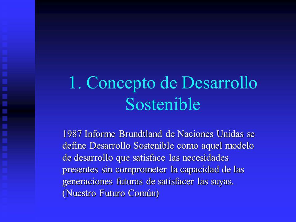 1. Concepto de Desarrollo Sostenible 1987 Informe Brundtland de Naciones Unidas se define Desarrollo Sostenible como aquel modelo de desarrollo que sa