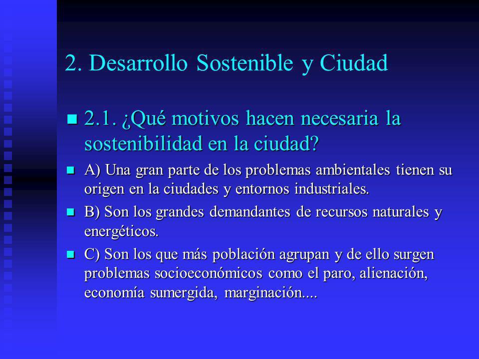 2. Desarrollo Sostenible y Ciudad 2.1. ¿Qué motivos hacen necesaria la sostenibilidad en la ciudad? 2.1. ¿Qué motivos hacen necesaria la sostenibilida
