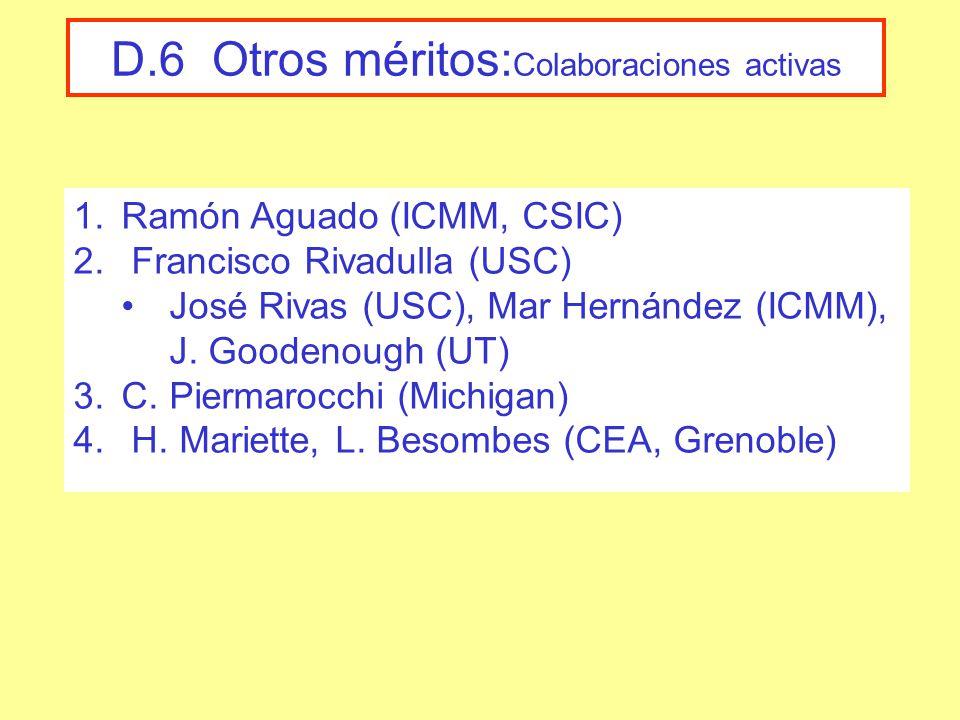 D.6 Otros méritos: Colaboraciones activas 1.Ramón Aguado (ICMM, CSIC) 2.