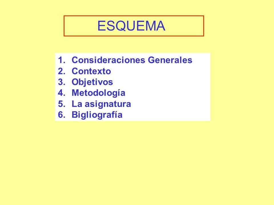 1.Consideraciones Generales 2.Contexto 3.Objetivos 4.Metodología 5.La asignatura 6.Bigliografía ESQUEMA