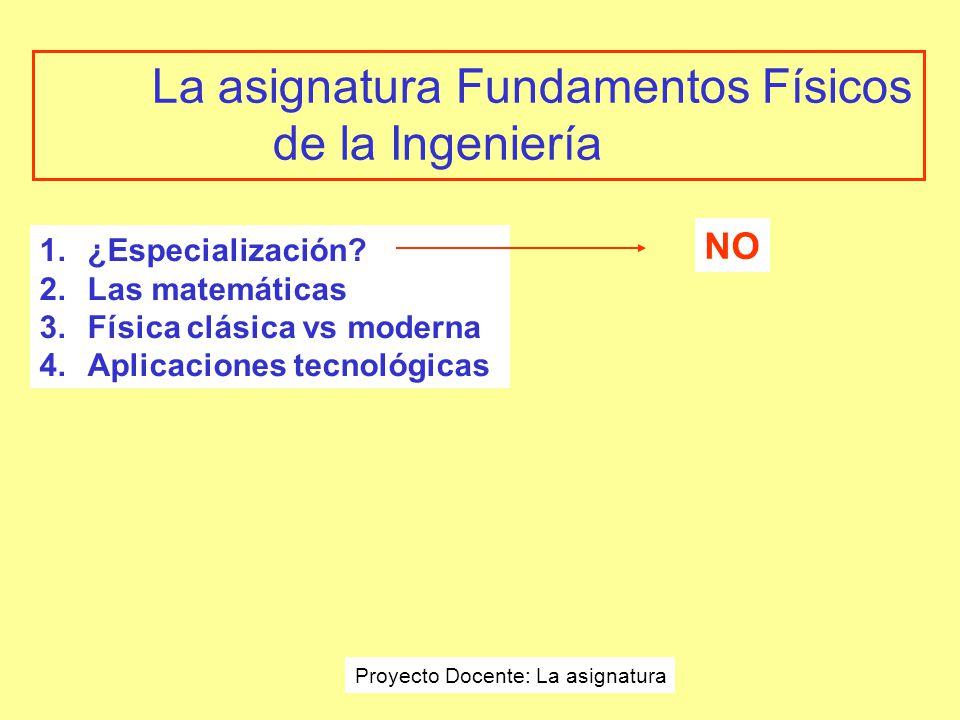 La asignatura Fundamentos Físicos de la Ingeniería 1.¿Especialización.