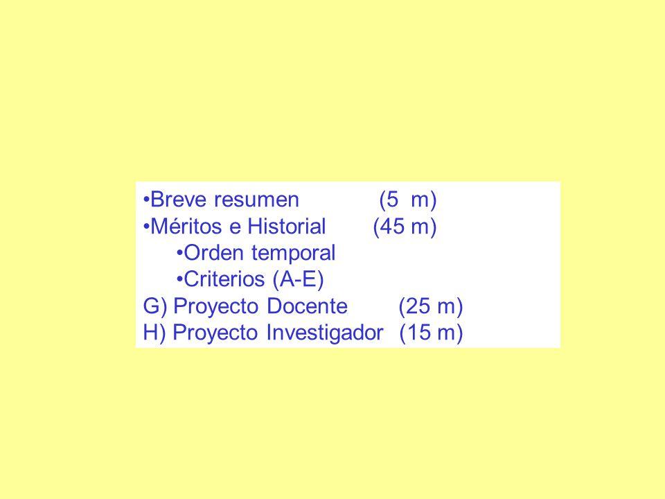 Breve resumen (5 m) Méritos e Historial (45 m) Orden temporal Criterios (A-E) G) Proyecto Docente (25 m) H) Proyecto Investigador (15 m)