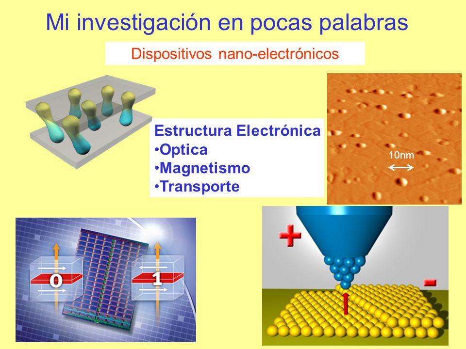 Mi investigación en pocas palabras Dispositivos nano-electrónicos Estructura Electrónica Optica Magnetismo Transporte 10nm