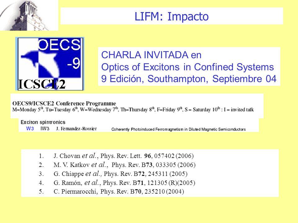 CHARLA INVITADA en Optics of Excitons in Confined Systems 9 Edición, Southampton, Septiembre 04 LIFM: Impacto 1.J.
