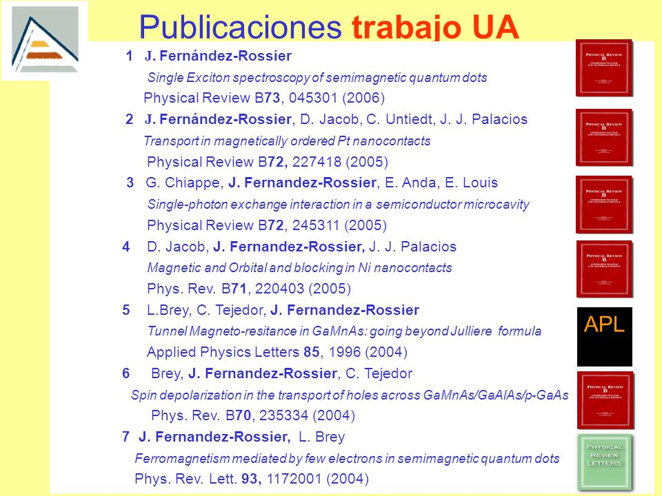 Publicaciones trabajo UA 1 J. Fernández-Rossier Single Exciton spectroscopy of semimagnetic quantum dots Physical Review B73, 045301 (2006)B)73 2 J. F
