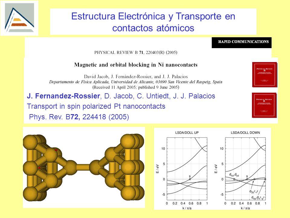 Estructura Electrónica y Transporte en contactos atómicos D.