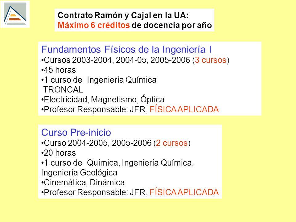 Contrato Ramón y Cajal en la UA: Máximo 6 créditos de docencia por año Fundamentos Físicos de la Ingeniería I Cursos 2003-2004, 2004-05, 2005-2006 (3 cursos) 45 horas 1 curso de Ingeniería Química TRONCAL Electricidad, Magnetismo, Óptica Profesor Responsable: JFR, FÍSICA APLICADA Curso Pre-inicio Curso 2004-2005, 2005-2006 (2 cursos) 20 horas 1 curso de Química, Ingeniería Química, Ingeniería Geológica Cinemática, Dinámica Profesor Responsable: JFR, FÍSICA APLICADA