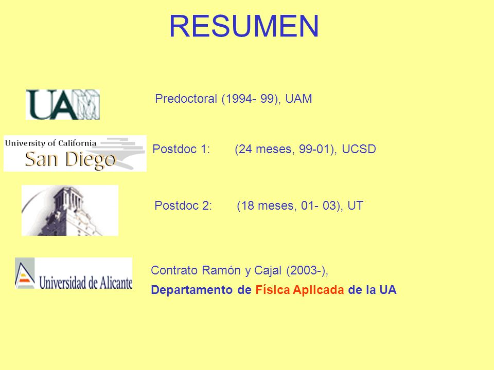 RESUMEN Contrato Ramón y Cajal (2003-), UA Control eléctrico de nanoimanes Predoctoral (1994- 99), UAM Postdoc 1: (99-01), UCSD Estructura electrónica de semiconductores ferromagnéticos Postdoc 2: (01- 03), UT Portadores de no equilibrio en materiales magnéticos