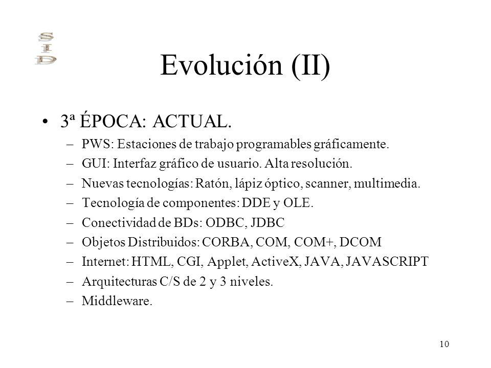 10 Evolución (II) 3ª ÉPOCA: ACTUAL. –PWS: Estaciones de trabajo programables gráficamente. –GUI: Interfaz gráfico de usuario. Alta resolución. –Nuevas