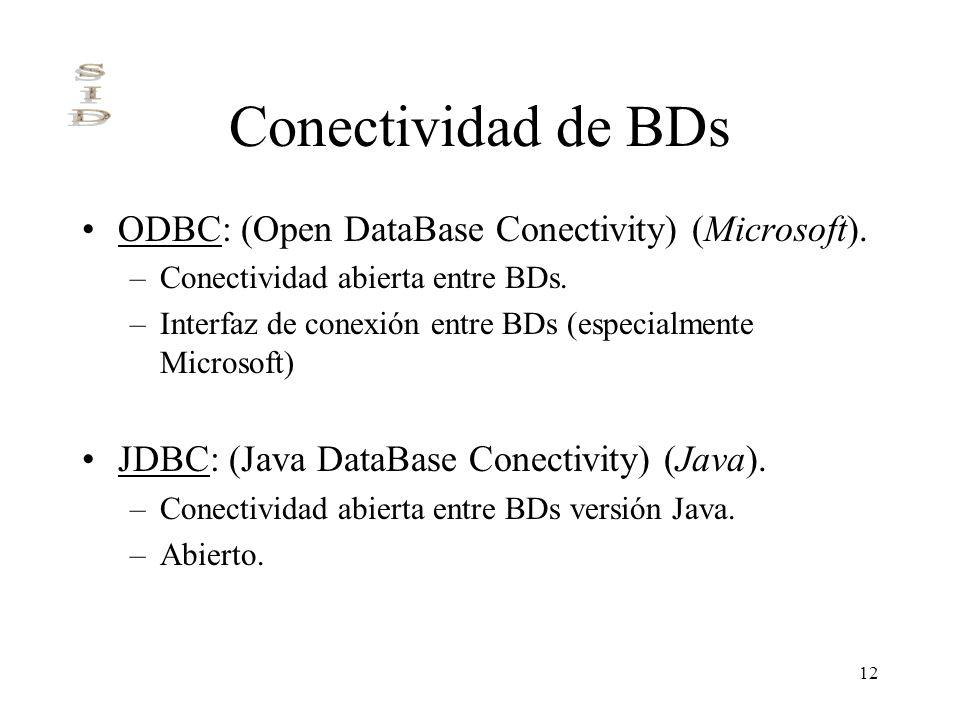 12 Conectividad de BDs ODBC: (Open DataBase Conectivity) (Microsoft). –Conectividad abierta entre BDs. –Interfaz de conexión entre BDs (especialmente