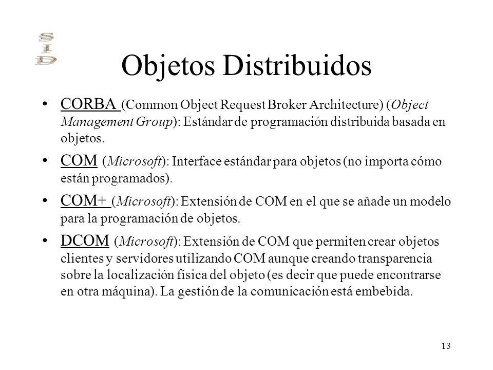 13 Objetos Distribuidos CORBA (Common Object Request Broker Architecture) (Object Management Group): Estándar de programación distribuida basada en ob
