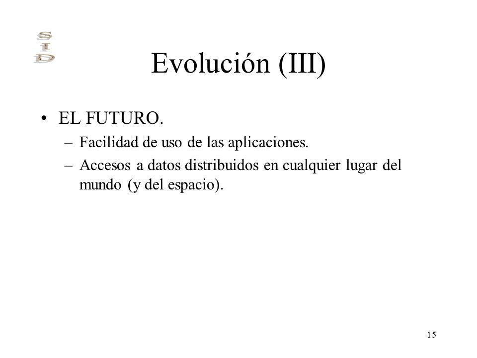 15 Evolución (III) EL FUTURO. –Facilidad de uso de las aplicaciones. –Accesos a datos distribuidos en cualquier lugar del mundo (y del espacio).