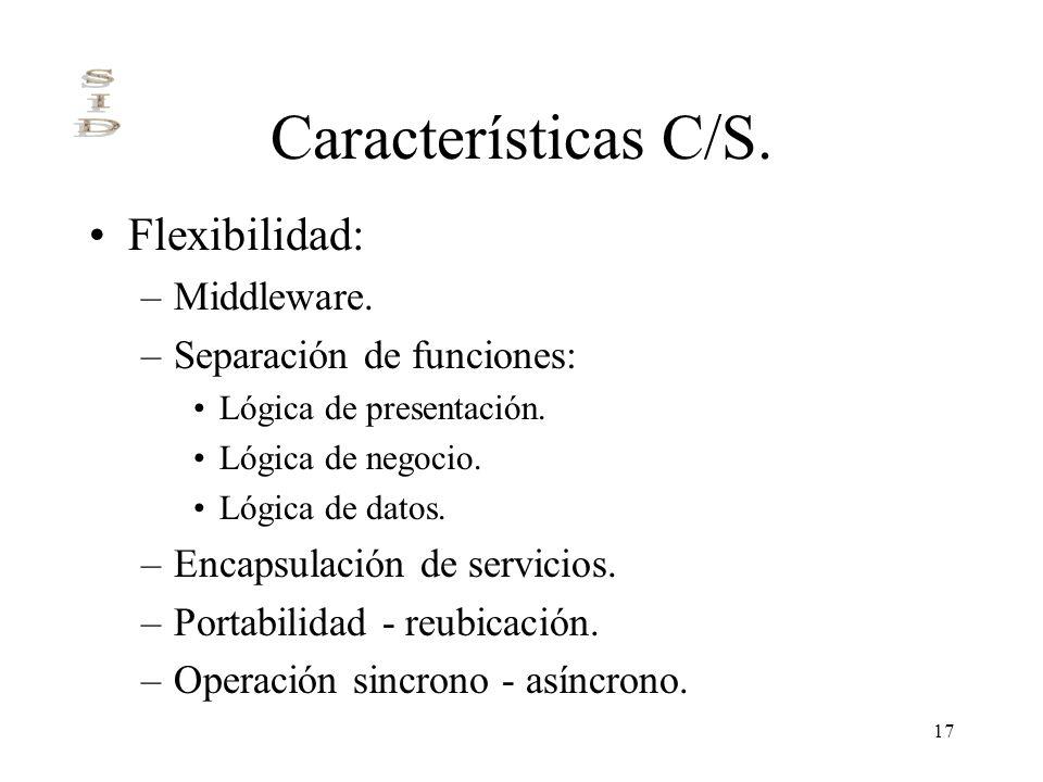 17 Características C/S. Flexibilidad: –Middleware. –Separación de funciones: Lógica de presentación. Lógica de negocio. Lógica de datos. –Encapsulació