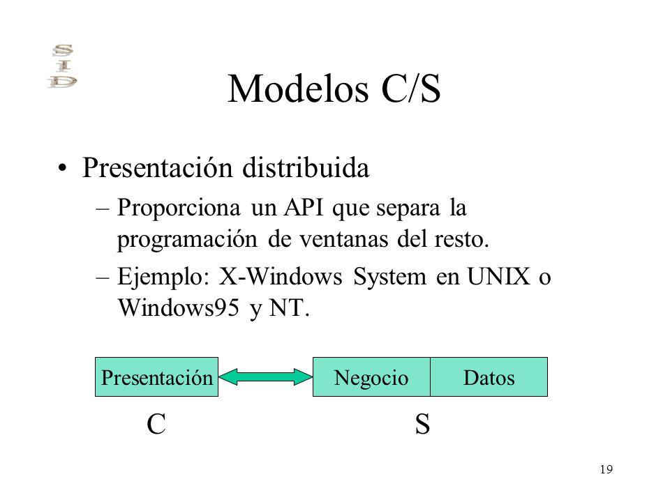 19 Modelos C/S Presentación distribuida –Proporciona un API que separa la programación de ventanas del resto. –Ejemplo: X-Windows System en UNIX o Win