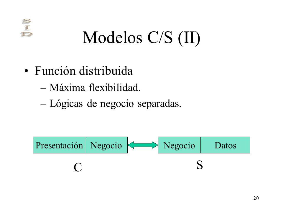20 Modelos C/S (II) Función distribuida –Máxima flexibilidad. –Lógicas de negocio separadas. PresentaciónNegocioDatosNegocio C S