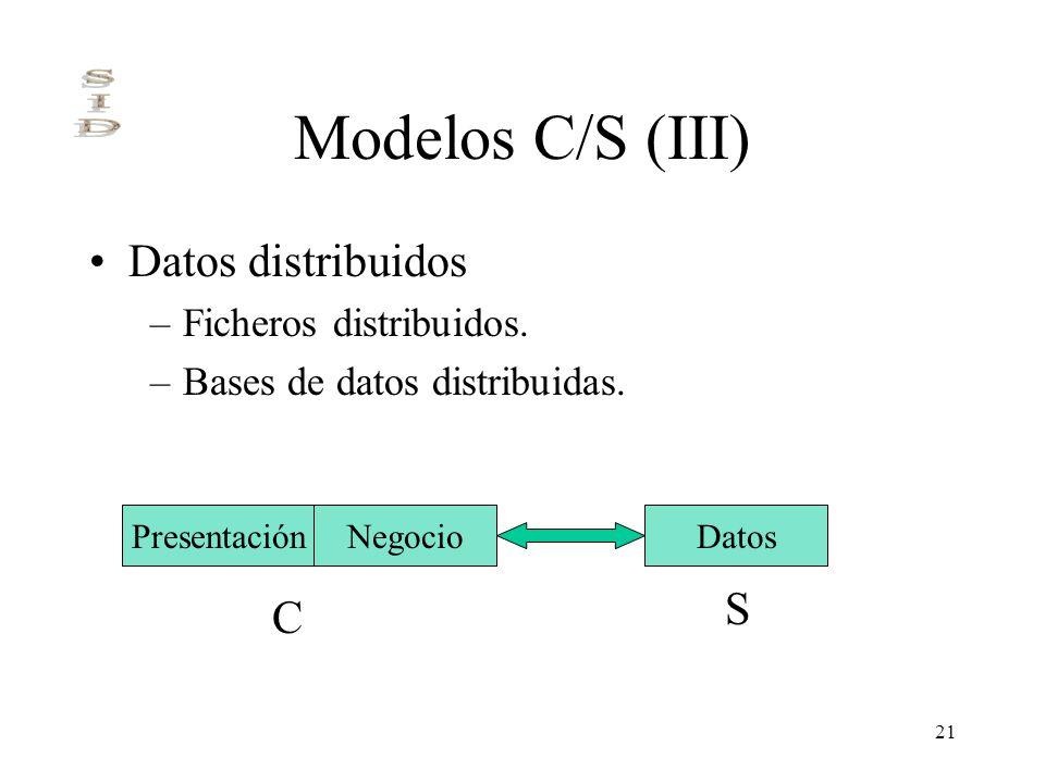 21 Modelos C/S (III) Datos distribuidos –Ficheros distribuidos. –Bases de datos distribuidas. PresentaciónNegocioDatos C S