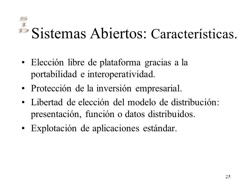 25 Sistemas Abiertos: Características. Elección libre de plataforma gracias a la portabilidad e interoperatividad. Protección de la inversión empresar