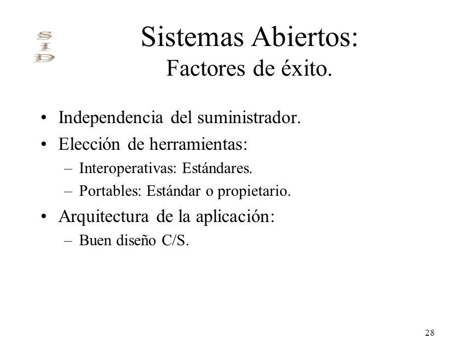 28 Sistemas Abiertos: Factores de éxito. Independencia del suministrador. Elección de herramientas: –Interoperativas: Estándares. –Portables: Estándar