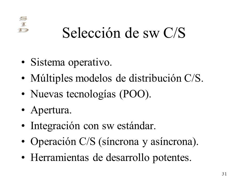 31 Selección de sw C/S Sistema operativo. Múltiples modelos de distribución C/S. Nuevas tecnologías (POO). Apertura. Integración con sw estándar. Oper