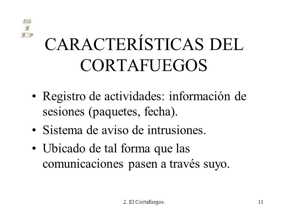2. El Cortafuegos.11 CARACTERÍSTICAS DEL CORTAFUEGOS Registro de actividades: información de sesiones (paquetes, fecha). Sistema de aviso de intrusion