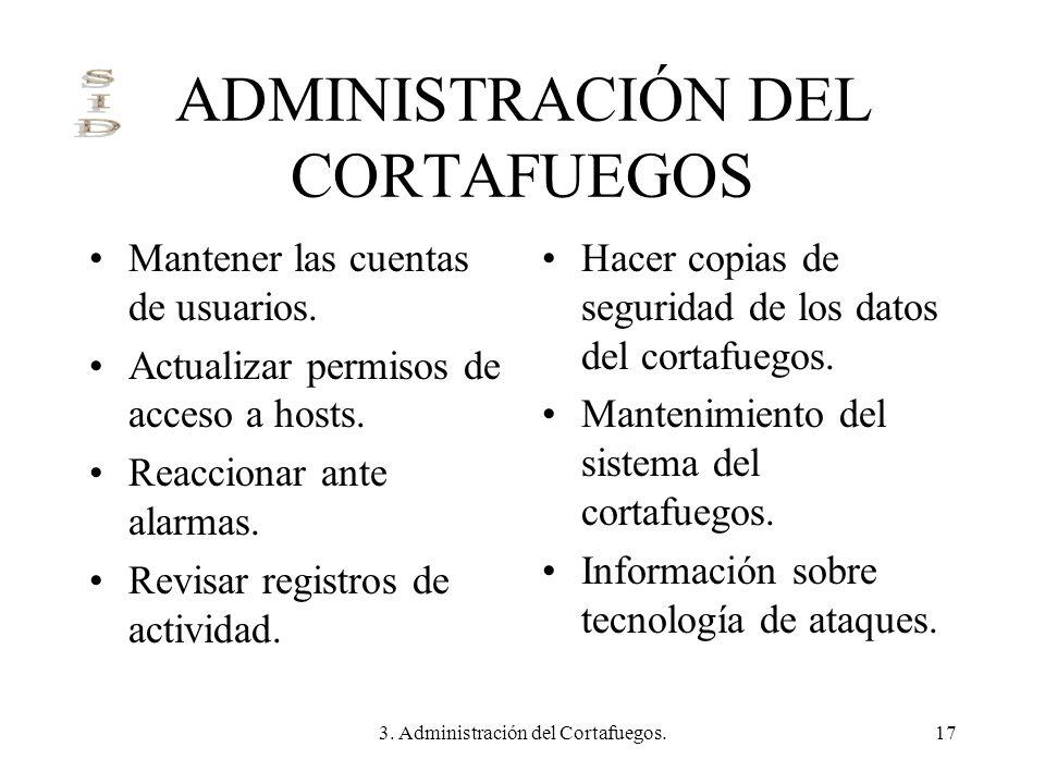 3. Administración del Cortafuegos.17 ADMINISTRACIÓN DEL CORTAFUEGOS Mantener las cuentas de usuarios. Actualizar permisos de acceso a hosts. Reacciona