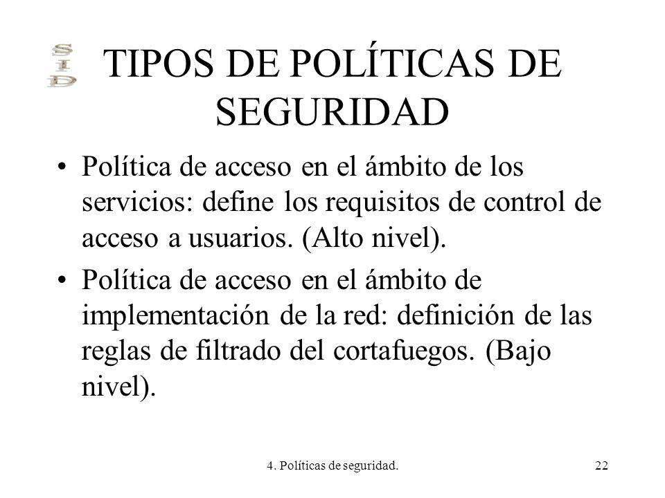 4. Políticas de seguridad.22 TIPOS DE POLÍTICAS DE SEGURIDAD Política de acceso en el ámbito de los servicios: define los requisitos de control de acc