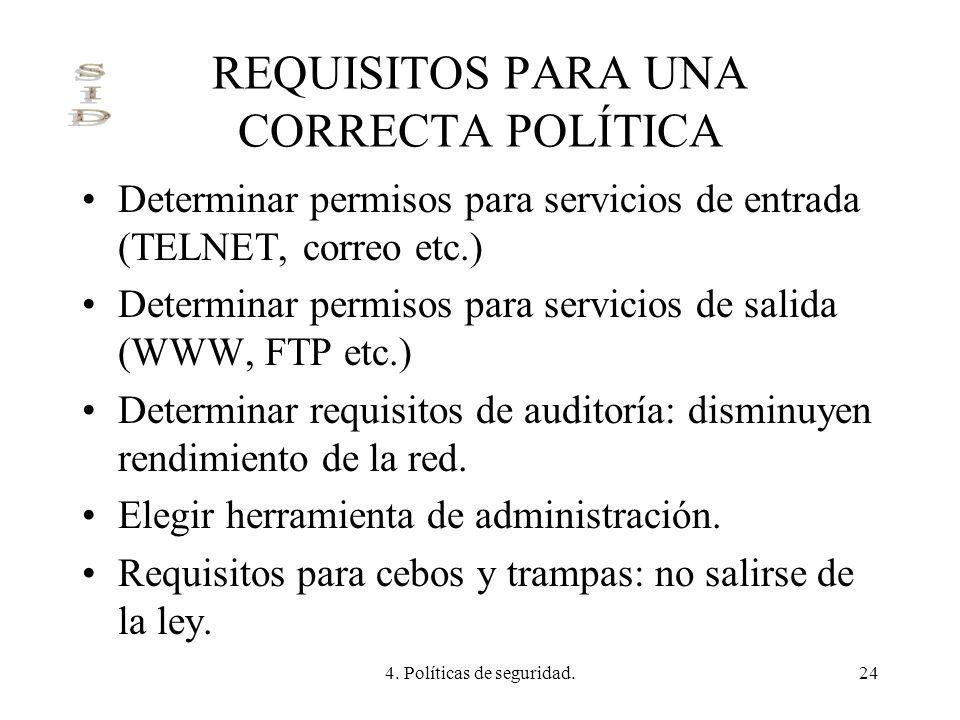 4. Políticas de seguridad.24 REQUISITOS PARA UNA CORRECTA POLÍTICA Determinar permisos para servicios de entrada (TELNET, correo etc.) Determinar perm