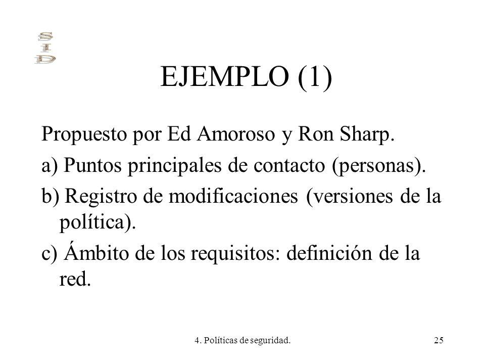 4. Políticas de seguridad.25 EJEMPLO (1) Propuesto por Ed Amoroso y Ron Sharp. a) Puntos principales de contacto (personas). b) Registro de modificaci