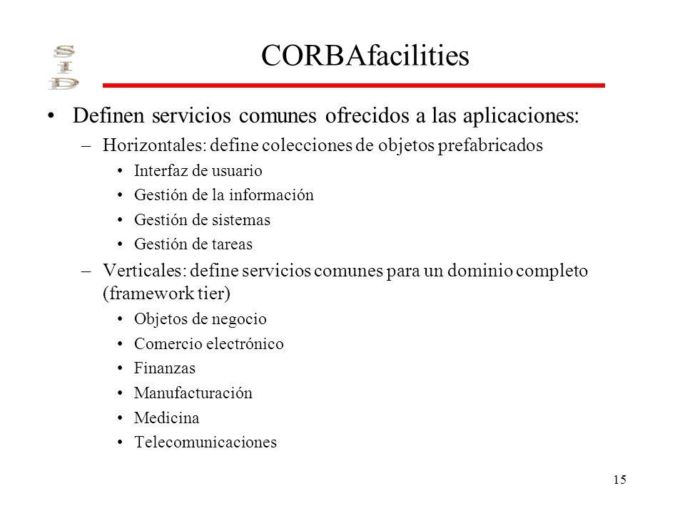 15 CORBAfacilities Definen servicios comunes ofrecidos a las aplicaciones: –Horizontales: define colecciones de objetos prefabricados Interfaz de usua