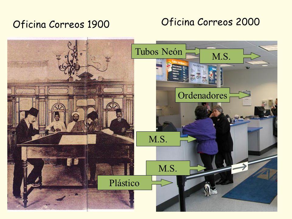 Oficina Correos 1900 Oficina Correos 2000 Ordenadores Tubos Neón Plástico M.S.