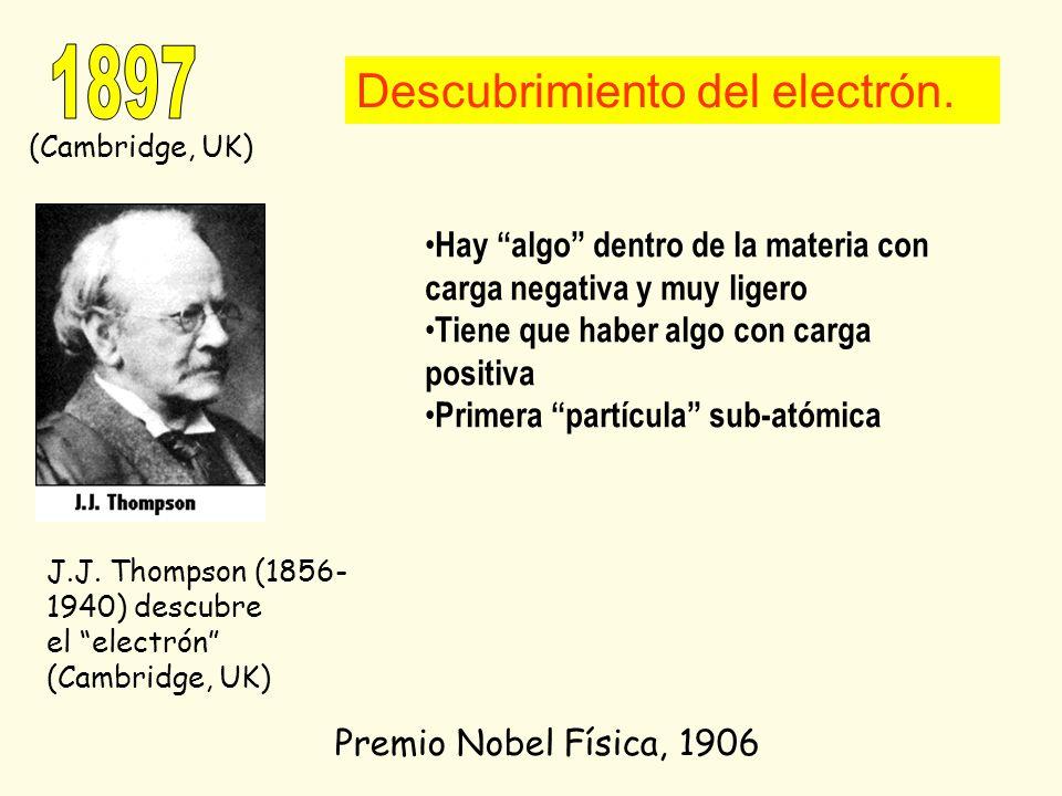 J.J. Thompson (1856- 1940) descubre el electrón (Cambridge, UK) Premio Nobel Física, 1906 Descubrimiento del electrón. (Cambridge, UK) Hay algo dentro