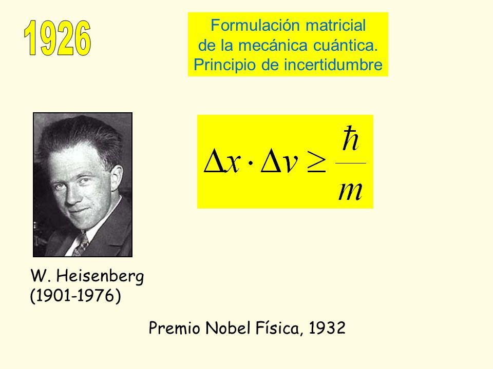 Premio Nobel Física, 1932 W. Heisenberg (1901-1976) Formulación matricial de la mecánica cuántica. Principio de incertidumbre