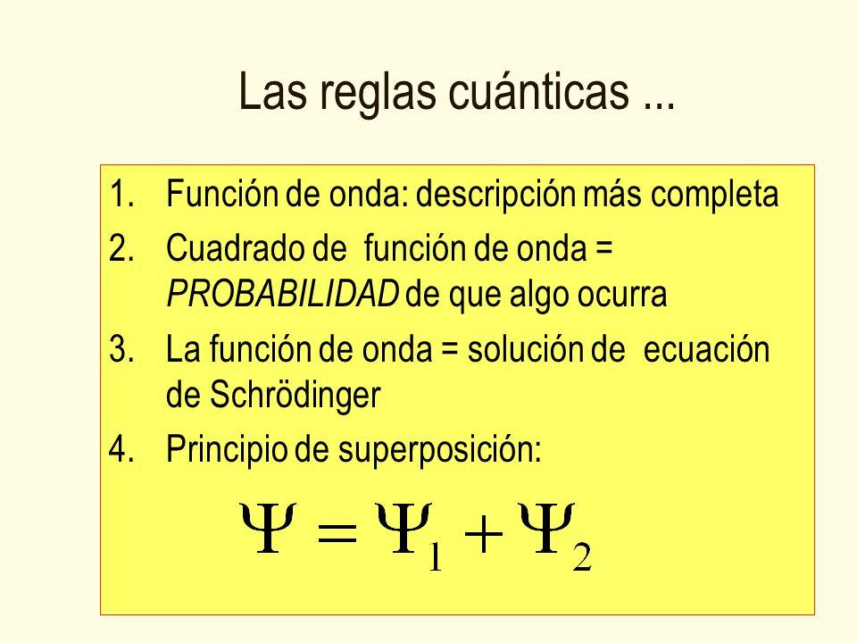 Las reglas cuánticas... 1.Función de onda: descripción más completa 2.Cuadrado de función de onda = PROBABILIDAD de que algo ocurra 3.La función de on