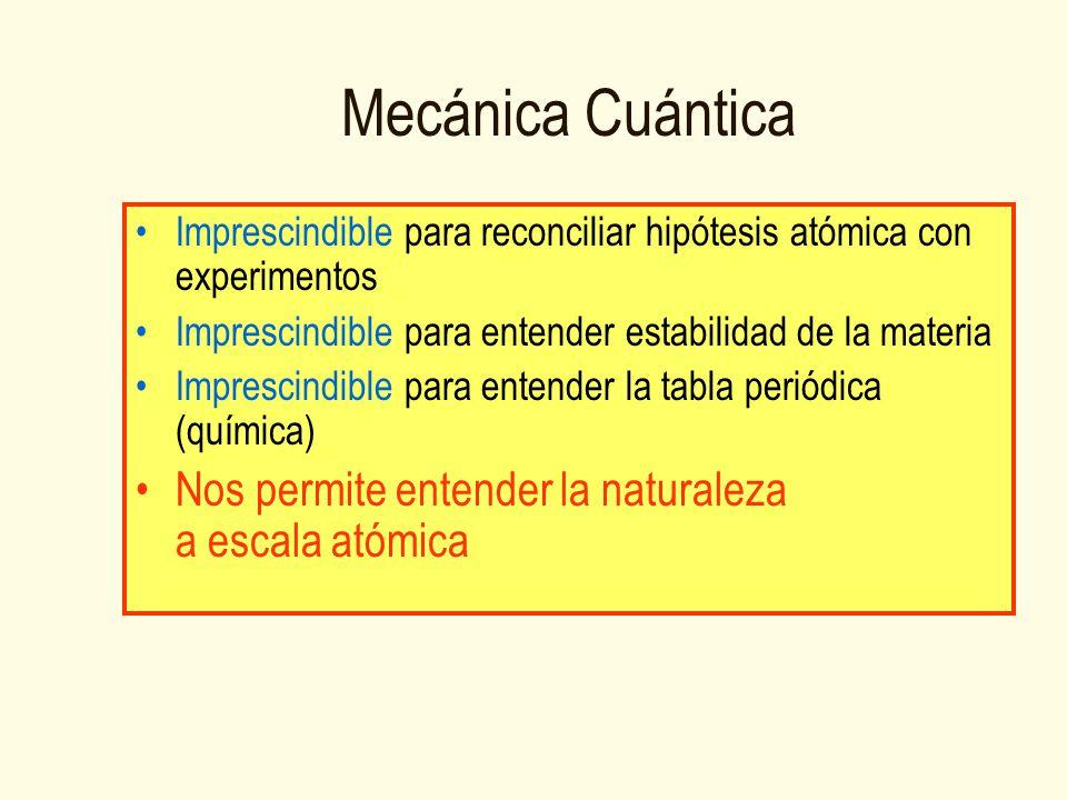 Mecánica Cuántica Imprescindible para reconciliar hipótesis atómica con experimentos Imprescindible para entender estabilidad de la materia Imprescindible para entender la tabla periódica (química) Nos permite entender la naturaleza a escala atómica