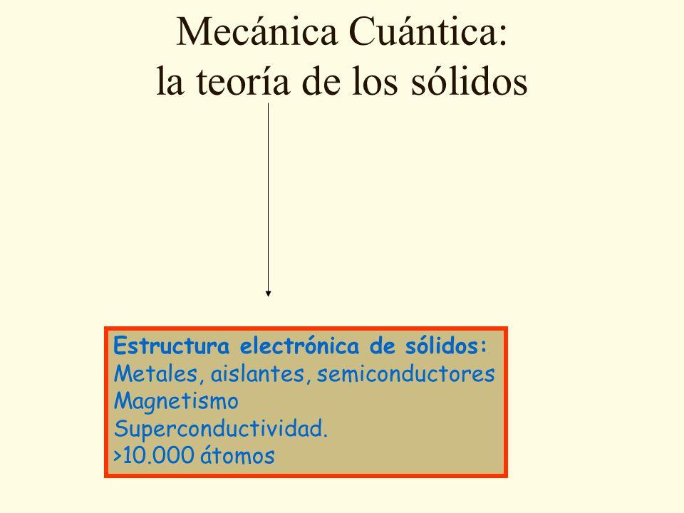 Mecánica Cuántica: la teoría de los sólidos Estructura electrónica de sólidos: Metales, aislantes, semiconductores Magnetismo Superconductividad.