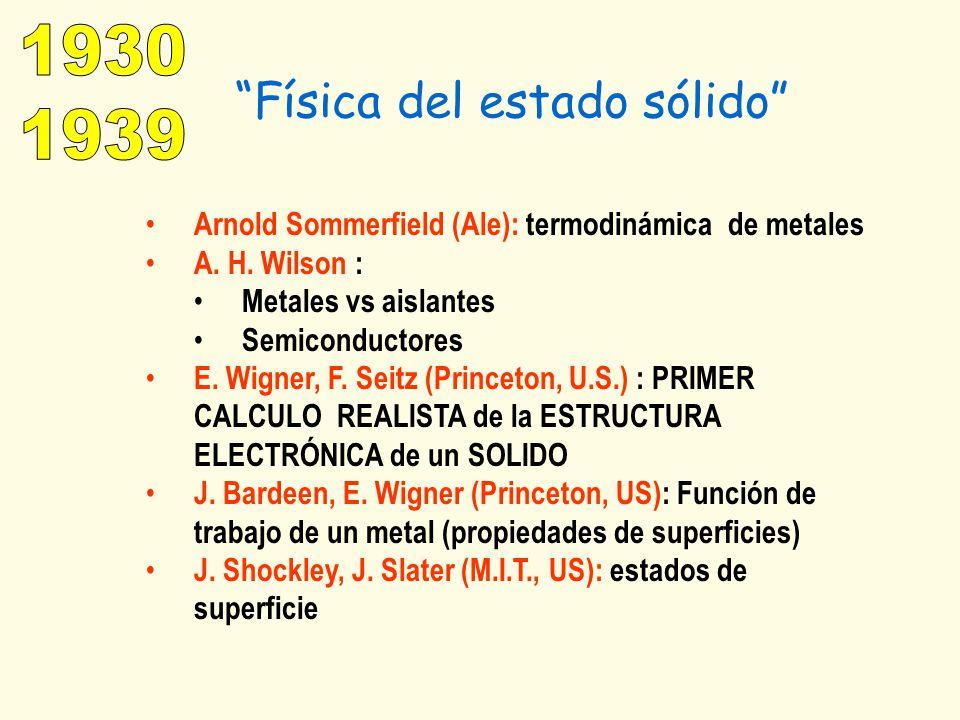 Física del estado sólido Arnold Sommerfield (Ale): termodinámica de metales A. H. Wilson : Metales vs aislantes Semiconductores E. Wigner, F. Seitz (P