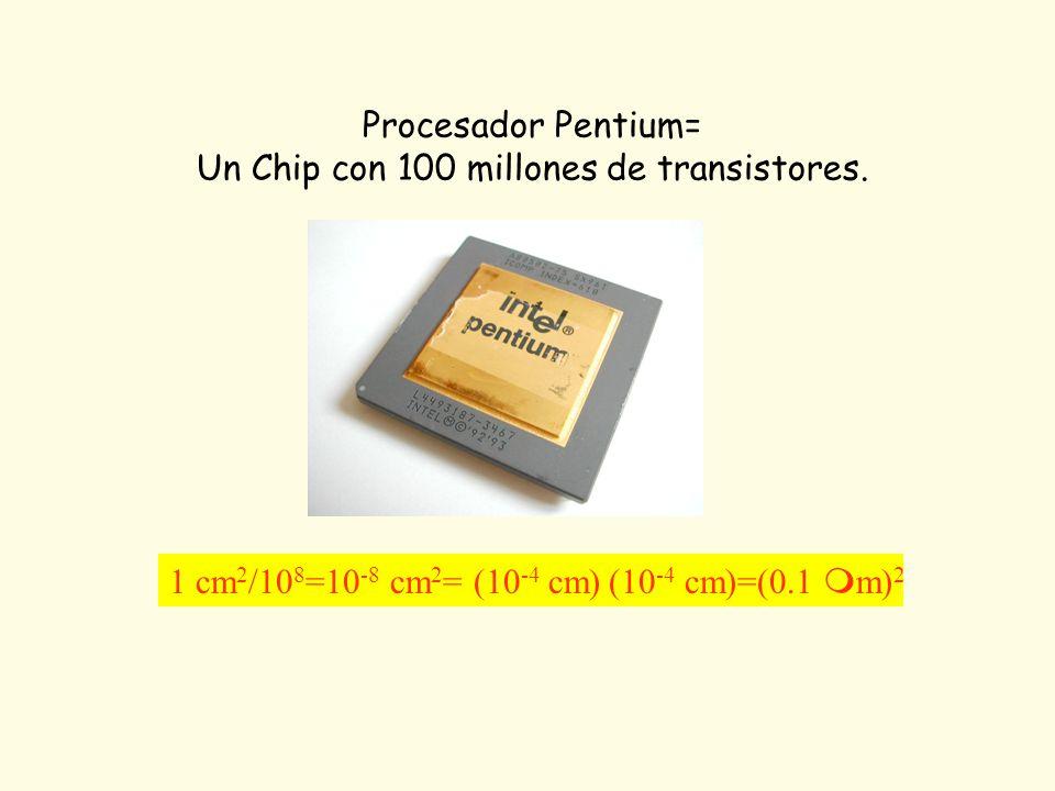 Procesador Pentium= Un Chip con 100 millones de transistores. 1 cm 2 /10 8 =10 -8 cm 2 = (10 -4 cm) (10 -4 cm)=(0.1 m) 2
