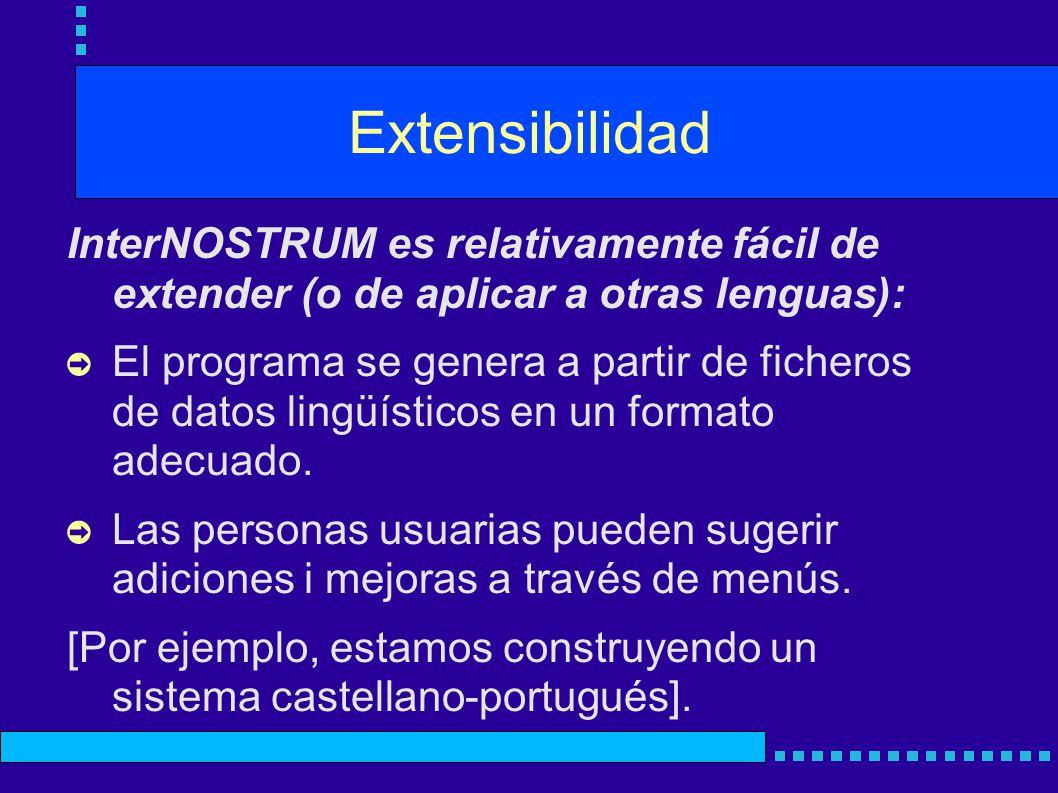 Extensibilidad InterNOSTRUM es relativamente fácil de extender (o de aplicar a otras lenguas): El programa se genera a partir de ficheros de datos lingüísticos en un formato adecuado.