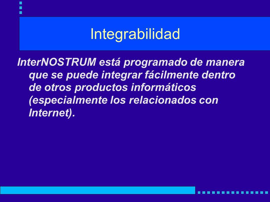 Integrabilidad InterNOSTRUM está programado de manera que se puede integrar fácilmente dentro de otros productos informáticos (especialmente los relacionados con Internet).