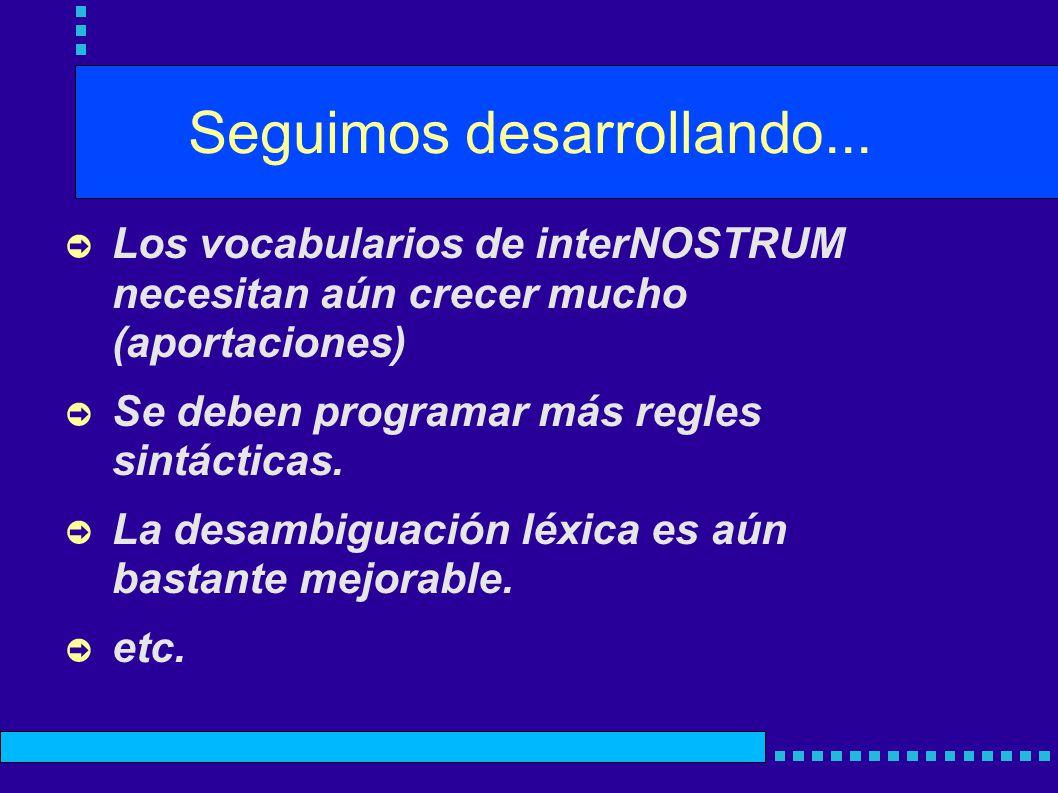 Seguimos desarrollando... Los vocabularios de interNOSTRUM necesitan aún crecer mucho (aportaciones) Se deben programar más regles sintácticas. La des
