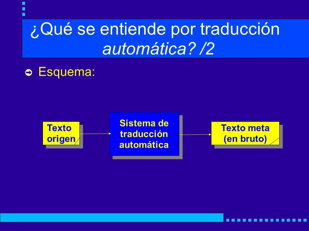 ¿Qué se entiende por traducción automática? /2 Esquema: Sistema de traducción automática Sistema de traducción automática Texto origen Texto origen Te