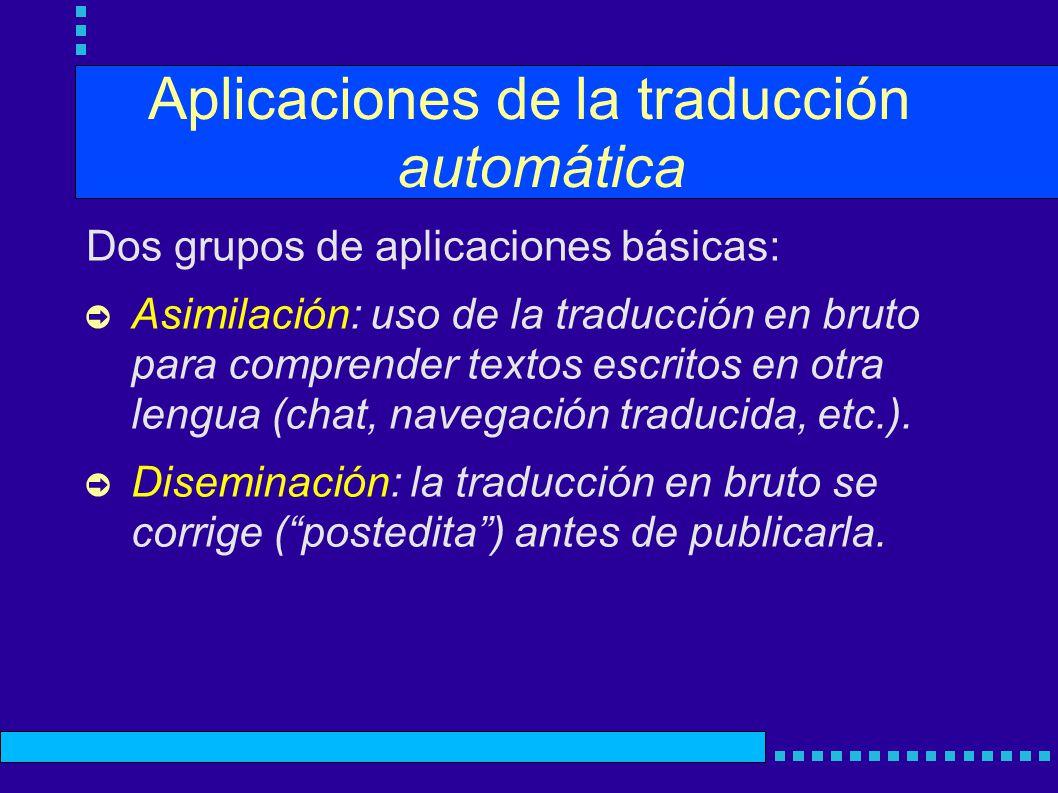 Aplicaciones de la traducción automática Dos grupos de aplicaciones básicas: Asimilación: uso de la traducción en bruto para comprender textos escritos en otra lengua (chat, navegación traducida, etc.).