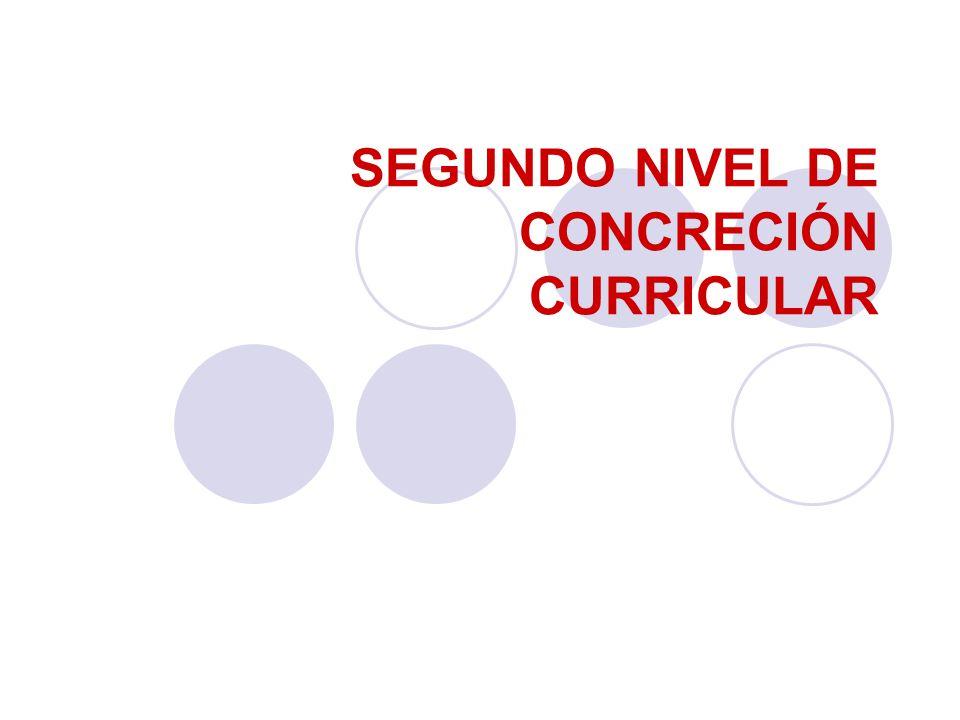 SEGUNDO NIVEL DE CONCRECIÓN CURRICULAR