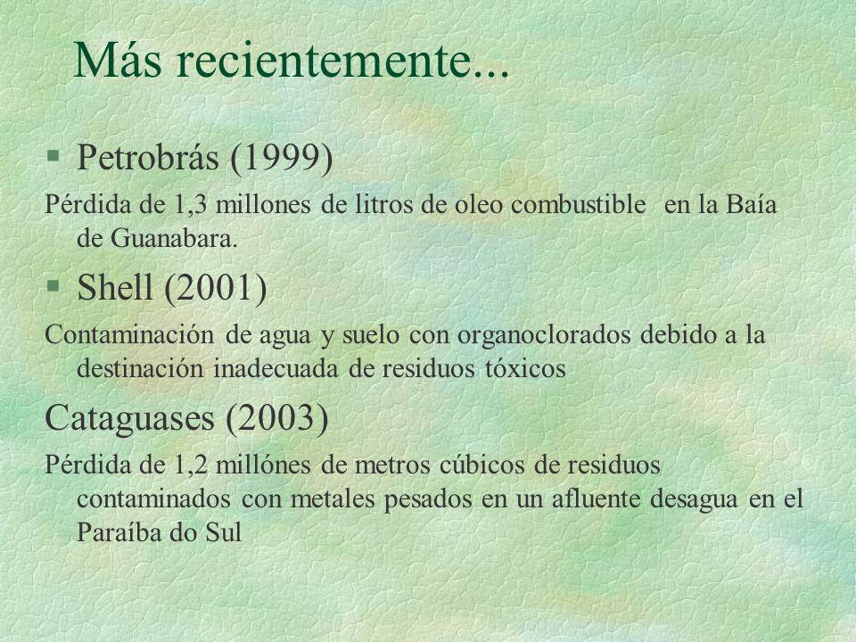 Más recientemente... §Petrobrás (1999) Pérdida de 1,3 millones de litros de oleo combustible en la Baía de Guanabara. §Shell (2001) Contaminación de a