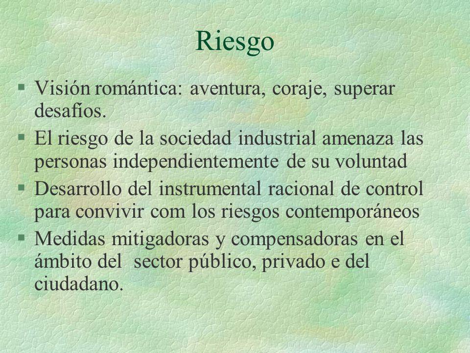 Riesgo §Visión romántica: aventura, coraje, superar desafíos. §El riesgo de la sociedad industrial amenaza las personas independientemente de su volun