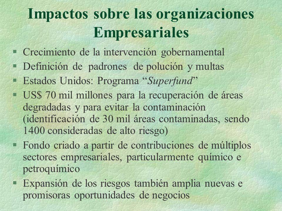 Impactos sobre las organizaciones Empresariales §Crecimiento de la intervención gobernamental §Definición de padrones de polución y multas §Estados Un