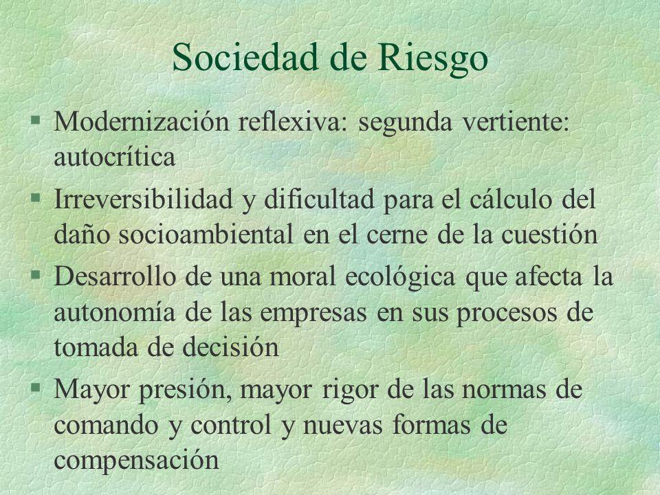 Sociedad de Riesgo §Modernización reflexiva: segunda vertiente: autocrítica §Irreversibilidad y dificultad para el cálculo del daño socioambiental en