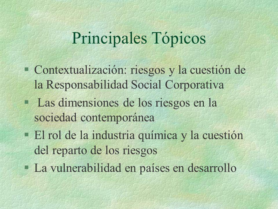 Principales Tópicos §Contextualización: riesgos y la cuestión de la Responsabilidad Social Corporativa § Las dimensiones de los riesgos en la sociedad